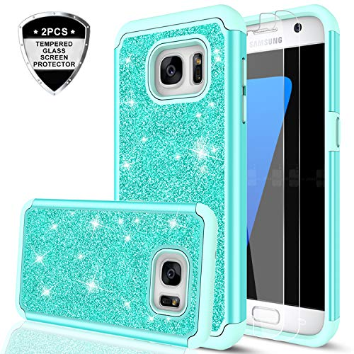 Galaxy S7 Case with [2 Pack] Tempered Glass Screen Protector, LeYi Glitter Bling Girls Women Dual Layer Heavy Duty Protective Phone Cases for Samsung Galaxy S7 (2016 Release) TP Mint