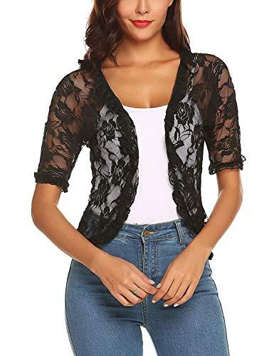 Cardigan Sleeve Ruffle Short (ELESOL Women Elegant Bolero Shrug Half Sleeve Lace Crochet Ruffle Open Front Cardigan (Black-1, M))
