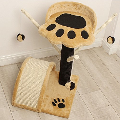 Optimum Popular Cat Tree Pet Condo Climb Furniture Kitten Tower Color Beige with Wand