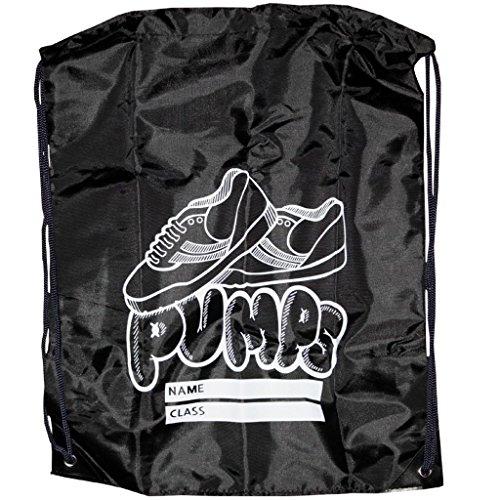 Gym Swim bedruckt Schule Dance Schuh Stiefel PE Kordelzug Tasche für Sport und Schwimmen schwarz - schwarz