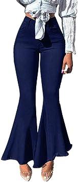 Excursion Clothing Womens Patchwork Button Zipper Pocket Casual Wide Leg Denim Pants High Waist Bell Bottoms Hem Flare Jeans