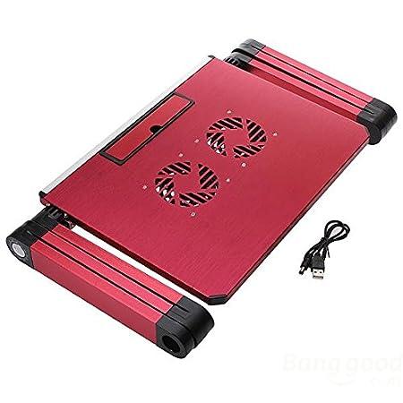 Supporto regolabile da tavolo per PC portatile, in alluminio, presa d'aria con ventola con ventole CPU, ultra leggero ed ergonomico, vassoio stand up per il letto e la sedia Red Kereith Home