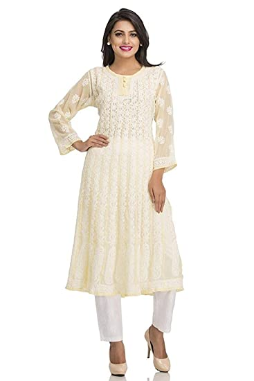 0c6bce7422d ADA Hand Embroidered Lucknow Chikan Faux Georgette Anarkali Kurti  (A106705 Lemon)