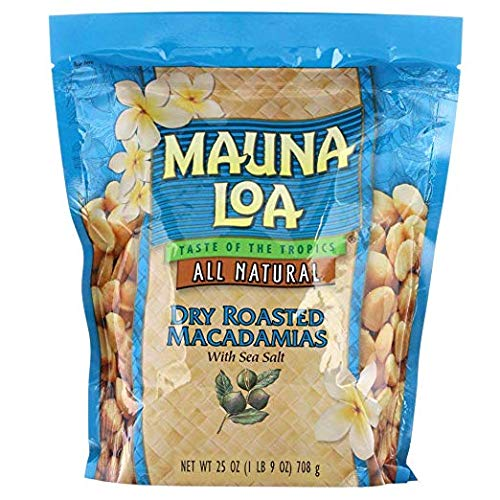 Mauna Loa Dry Roasted Macadamia Nuts with Sea Salt All Natural (25 oz Bag)