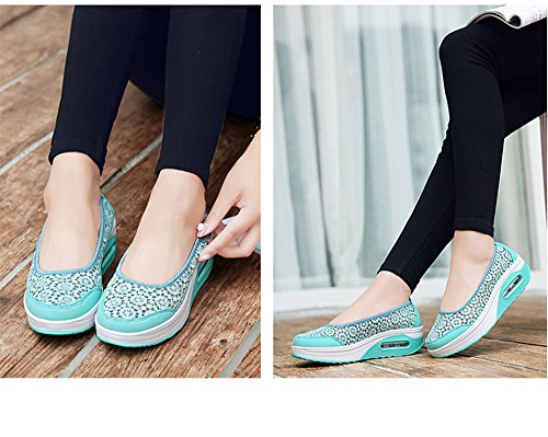 Heel Blue Lightweight Sneakers Fitness Walking Women's Shoes High IINFINE Wedges Platform qOxZUvwC0