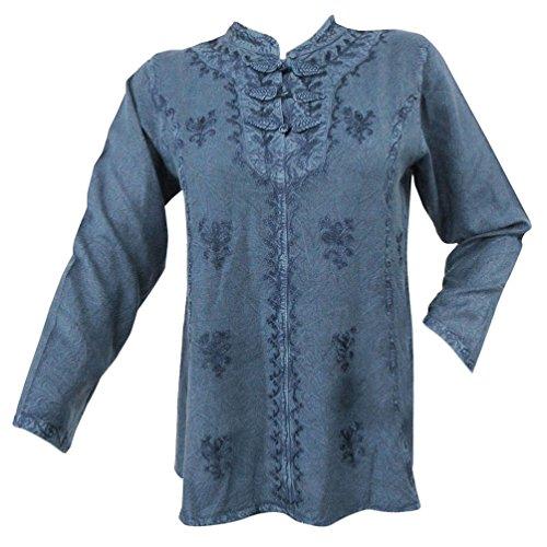 Bordado del rayón tapa del verano de la túnica vestido de las mujeres ocasionales de moda Azul marino