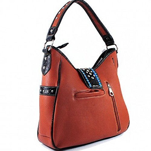 Embroidery Western Purse Rhinestone Carry Buckle BROWN Concealed Bracelet bag tote With Handbag qZ6tKcA