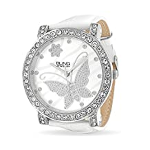 Bling Jewelry Womens CZ Flower Butterfly White Leather Stainless Steel Back Watch