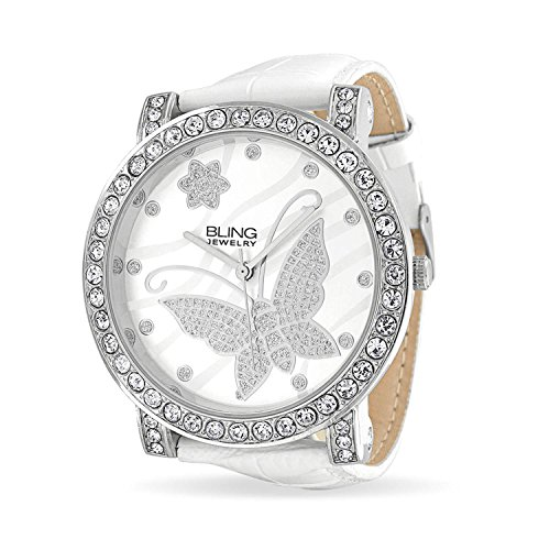 Bling Jewelry Fashion Round White Dial Cubic Zirconia CZ Pave Bezel Large Butterfly Watch for Women for Teen White Faux Leather Band