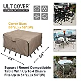 ULTCOVER Square Patio Heavy Duty Table Cover - 600D Tough Canvas Waterproof Outdoor Dining Table and Chairs General Purpose Furniture Cover Size 54 inch