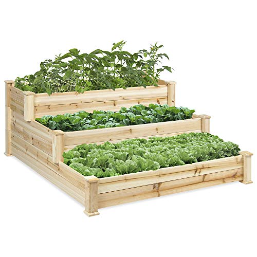 Best Choice Products 3-Tier 4x4ft Elevated Wooden Vegetable Garden Bed Planter Kit w/ No Assembly Required for Outdoor Gardening - Natural