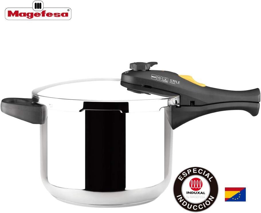 MAGEFESA Style Olla a presión Super rápida de fácil Uso, Acero Inoxidable 18/10, Apta para Todo Tipo de cocinas, Incluido inducción. (6L): Amazon.es: Hogar