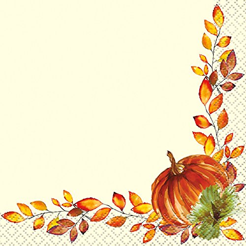 (Unique Watercolor Fall Pumpkins Beverage Napkins 10