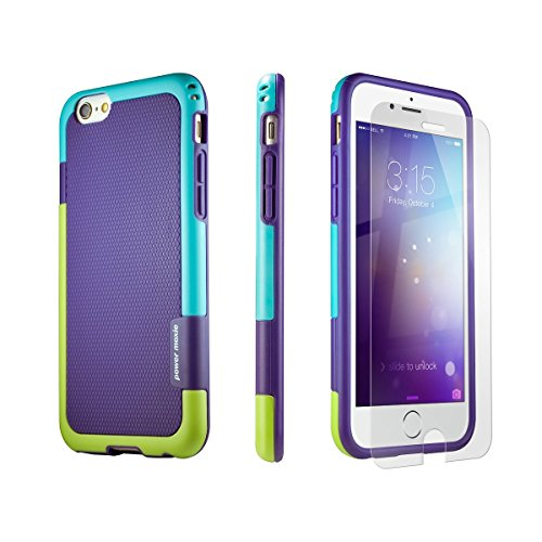 iPhone 6 Case, iPhone 6s Case PowerMoxie® [DUAL LAYER PROTECTION] with Tempered Glass Screen Protector SLIM case heavy duty Cover for iPhone 6/6s - Purple Teal Lime - Green Lime Purple