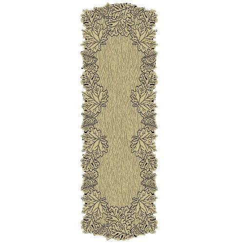 Heritage Lace Leaf 20-Inch by 60-Inch Mantle Runner, Goldenrod