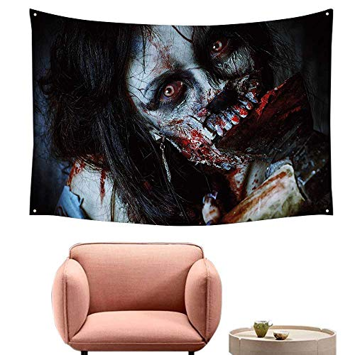 Agoza High-end Quality Tapestry Zombie Decor Scary Dead Woman with Bloody Axe Evil Fantasy Gothic Mystery Halloween Picture Bedspread Yoga Mat Blanket 23