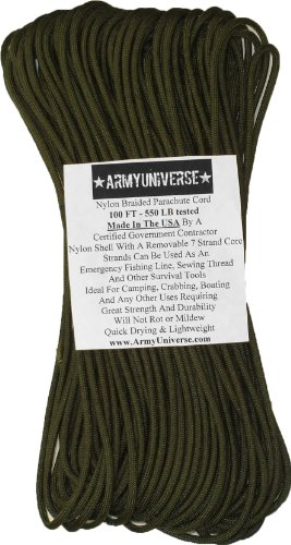 - Army Universe 550lbs. Military Paracord Type III Rope 100' Olive Drab