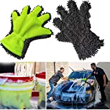 Littleice Microfiber Car Cleaning Glove Washing Gloves Chenille Auto Care No Scratch Wash Tool