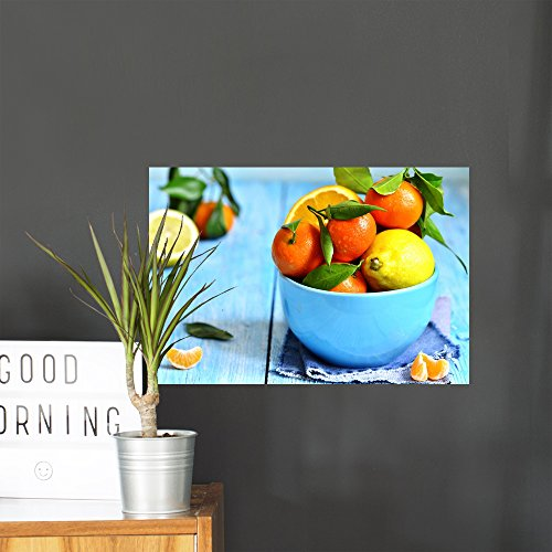 - Wallmonkeys Citrus Fruit Bowl Wall Mural Peel and Stick Graphic (18 in W x 12 in H) WM103184