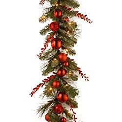 National Tree 9 Foot by 12 Inch Decorative Collection Christmas Red Mixed Garland with Sprigs, Ball Ornaments and 50 Battery Operated Warm White LED Lights (DC13-159-9BB-1)