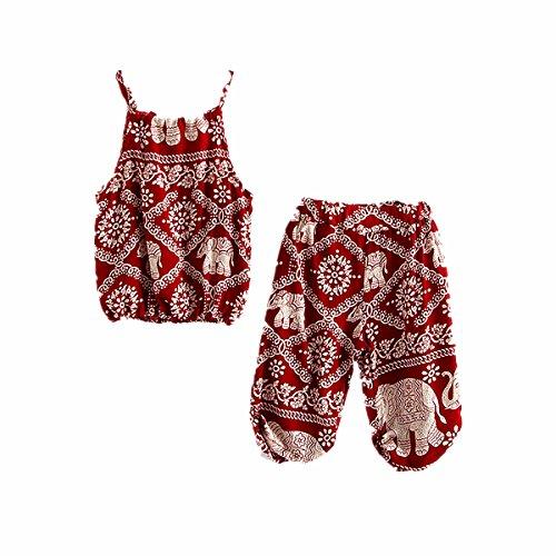 WINZIK Kids Baby Girls Outfits Boho Big and Small Elephant Pattern Camisole + Pants Beachwear Clothes Set (12-18 Months/7, - Girls Loungewear Infant Pant Baby