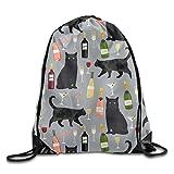 Black Cat Wine Draw Cord Bag Drawstring Backpack Sackpack Knapsack For Hiking Swimming Yoga