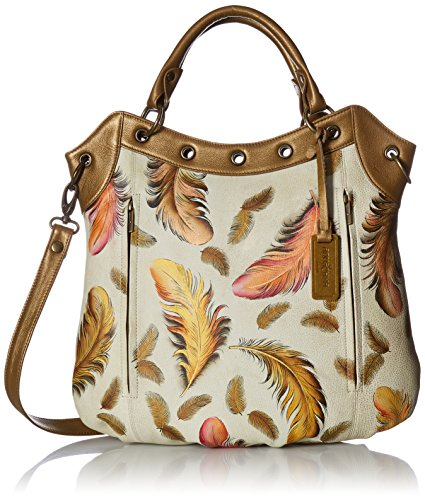 Anuschka Handpainted Leather Convertible Tote,Floating Fe...