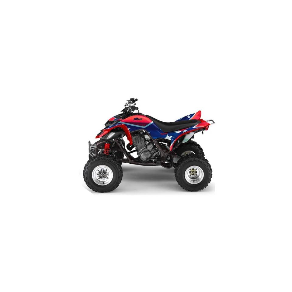 AMR Racing Yamaha Raptor 660 ATV Quad Graphic Kit   Rebel Red, White, Blue
