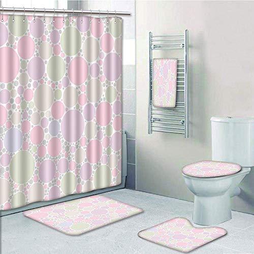 Bathroom 5 Piece Set shower curtain 3d print Multi Style,Polka Dots,Pastel Circle Random Pixel Spots Sprinkles Dots Decorative Original Design,Pink Green Lilac,Bath Mat,Bathroom Carpet Rug,Non-Slip,Ba -