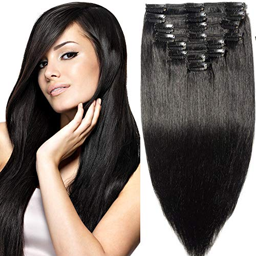 t Extra Thick Clip in 100% Remy Human Hair Extensions Full Head (18 inch 200G 7.05Oz #1 Jet Black) 8 Pcs Set Grade 10A Natural Hair Pieces Long Straight for Women ()