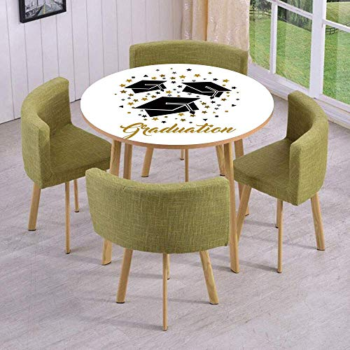 SINOVAL Fashion Round Table/Wall/Floor Decal Strikers/Removable/Academy Achievement Bachelor Theme Thrown Caps Tassels Vibrant Stars