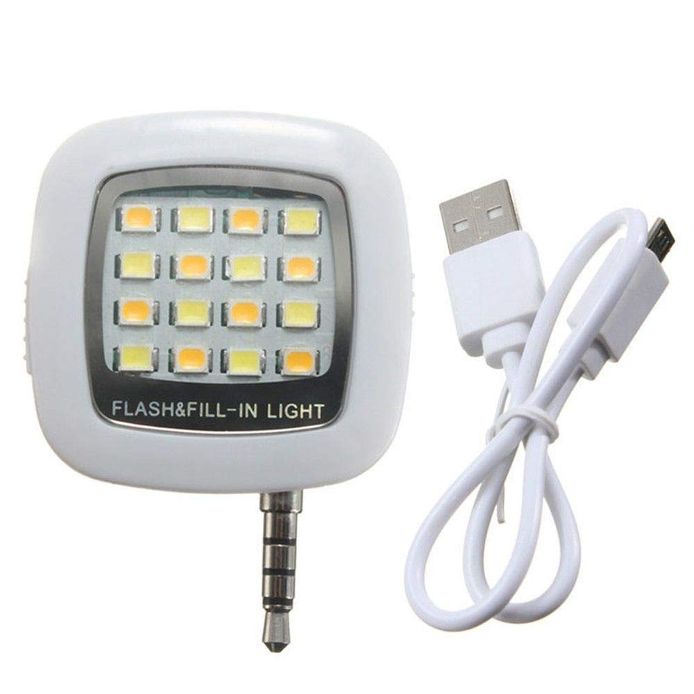 Mini LED Selfie Flash Lights for Smartphone Camera Photograph Lamp USB Charge Selfie Light Torch (White)