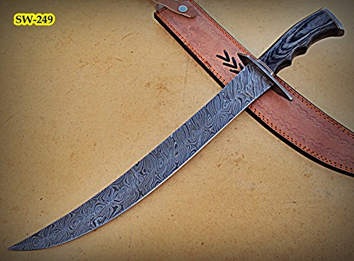 SW-249, Handmade Damascus Steel 21.5 Inches Sword - Black Doller Sheet Handle with Damascus Steel - Sw 249