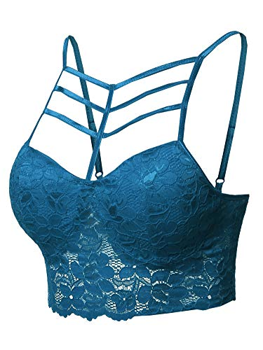 (Solid Caged Front Cami Lace Bralette Crop Tank Top Teal M)