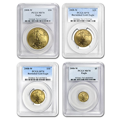 (2008 W 4-Coin Burnished Gold American Eagle Set MS-70 PCGS MS-70 )