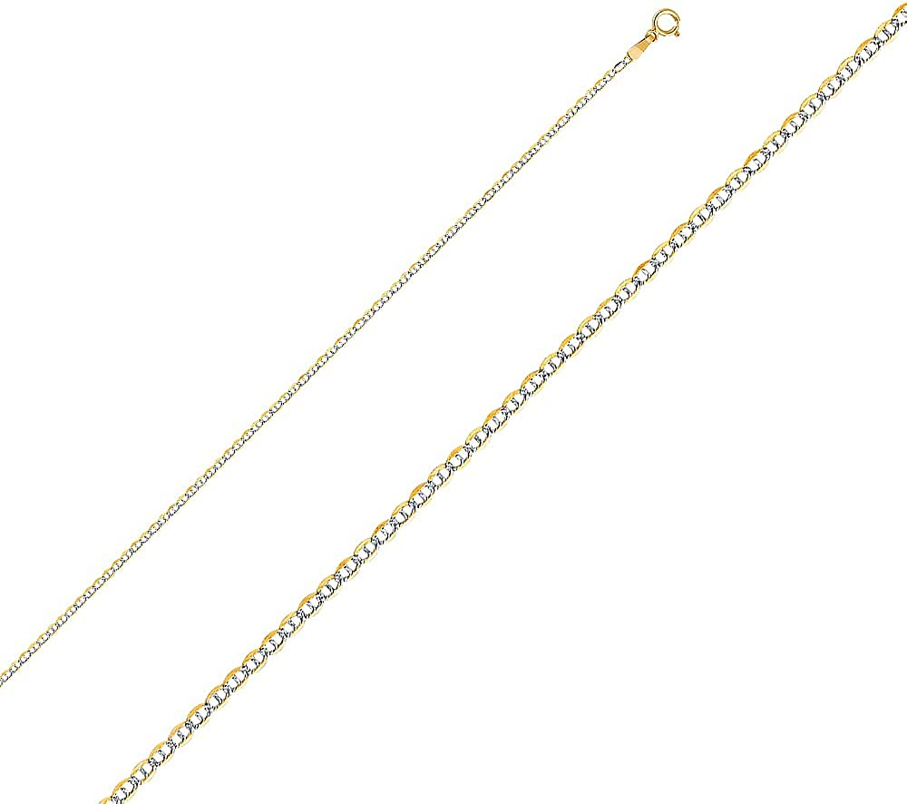 FB Jewels 14K White and Yellow Gold Two Tone Flat Mariner White Pave C Chain Necklace With Lobster Claw Clasp