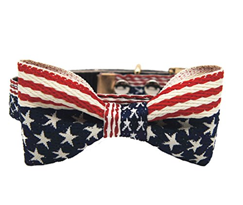 Embroidered Jean American Flag Pattern Pet Bow Tie Collar Dog Cat Necktie Multiple - Flag Cat American