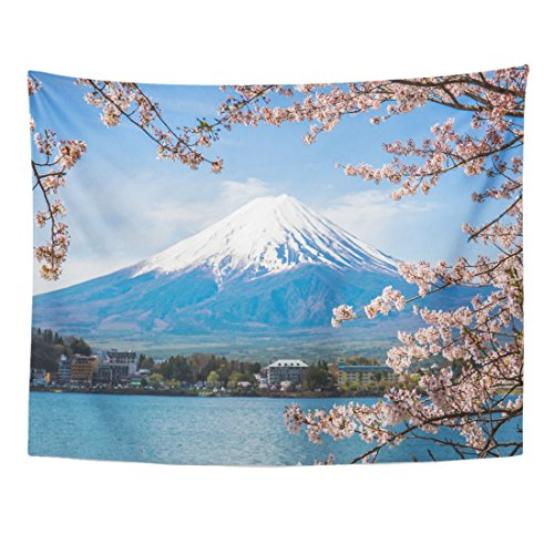 Breezat Tapestry Landmark Mount Fuji with Cherry Blossom at Lake Kawaguchiko in Japan Spring Home Decor Wall Hanging for Living Room Bedroom Dorm 60x80 Inches