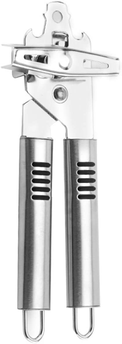 Can Opener, Kitchen Durable Stainless Steel Heavy Duty Can Opener Manual Smooth Edge Food Safety Cut 3-in-1 Can Openers Bottle for Seniors with Arthritis Hands Friendly