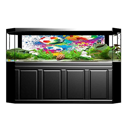 Jiahong Pan Fish Tank Poster Aquarium Background Backdrop PVC Adhesive Sports Splashes All Over The Soccer Balls Score Cup Championship Athletic Print Sticker Wallpaper Fish Tank L29.5 x H21.6