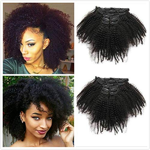 Afro Kinky Curly Hair Clip In Human Hair Extensions 4B 4C 100% Human Natural Black Color Hair Clip Ins Full Head Brazilian Virgin Remy Hair 8PC/Set 100G for Black Women (12INCH/30CM)