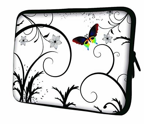LUXBURG® 7.9 Zoll iPad mini Tasche aus Neopren Schutzhülle Sleeve für Tablet PC Butterfly & White Flowers wa6X1
