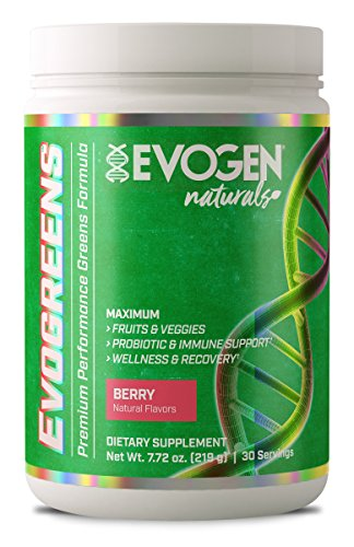 Evogen Evogreens   Premium Performance Greens Superfood, Spirulina, Pomegranate, Probiotics, Kale   30 Servings ... (Berry, 30 Servings)