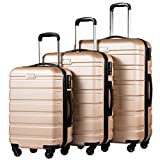 Coolife Luggage 3 Piece Set Suitcase Spinner Hardshell Lightweight (champagne)