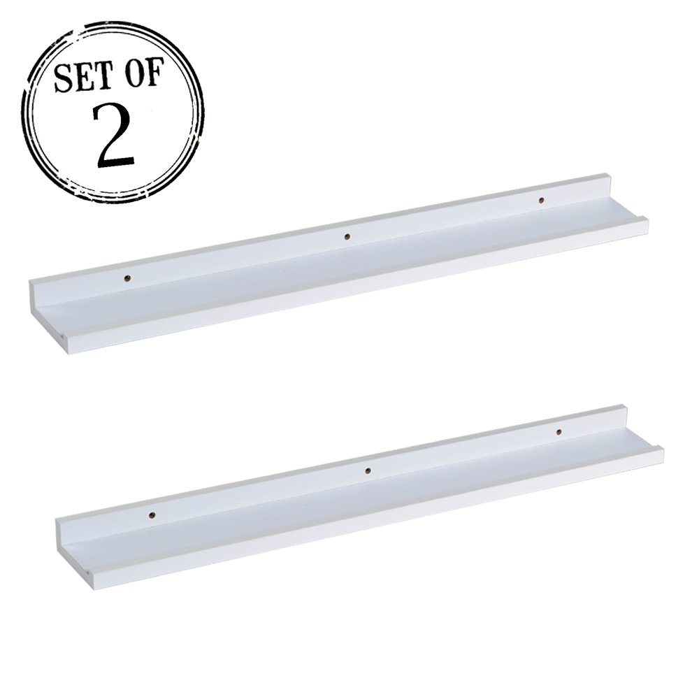 "O&K Furniture Picture Ledge Wall Shelf Display Floating Shelves (White,31.5"" Length, Set of 2)"