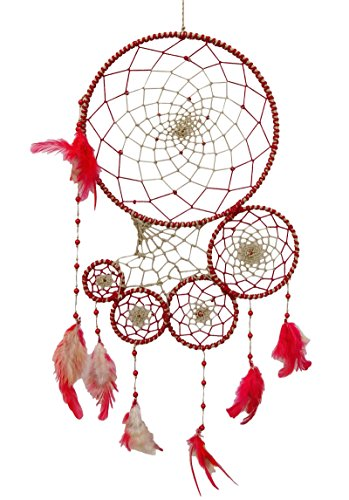 SuSvapnaah Boho Maroon And Off White  Feather Dream Catcher