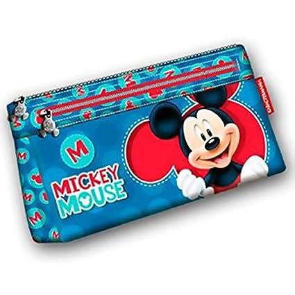 Mickey y sus amigos - Estuche escolar Zip M Blue Mickey Disney: Amazon.es: Oficina y papelería