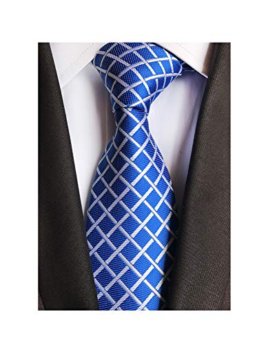 Men Bright Blue White Window Check Tie Formal Fashion Thanksgiving Dress Necktie