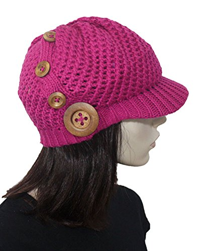 Fashion Dimensions Cool Magenta Crochet Newsboy Hat