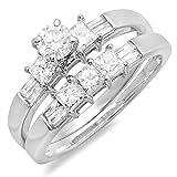 1.00 Carat (ctw) 14k White Gold Round, Princess & Baguette Cut Diamond Ladies Bridal Engagement Ring Set 1 CT (Size 7)